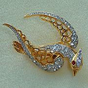 Kenneth J Lane Rhinestone Bird K.J.L. Pin Brooch
