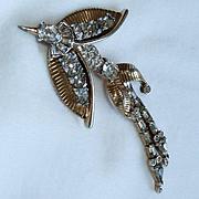 Mazur Rhinestone Gold Tone Bird in Flight