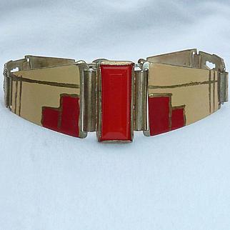 Art Deco Vintage Enamel Bracelet
