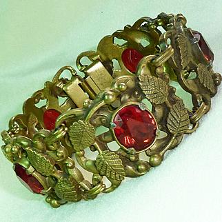 Red Bronze tone Leaf Designed Link Bracelet