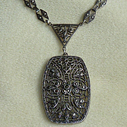 Sterling Marcasite Art Deco Necklace Vintage