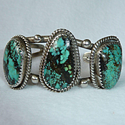 Navajo Sterling Silver Turquoise Bracelet  Johnny Frank Vintage