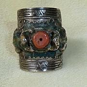 Chinese  Enameled Silver Coral Frog Adjustable Ring Vintage Size 6