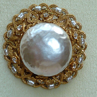 Miriam Haskell Large Glass Pearl Vintage Pin Brooch