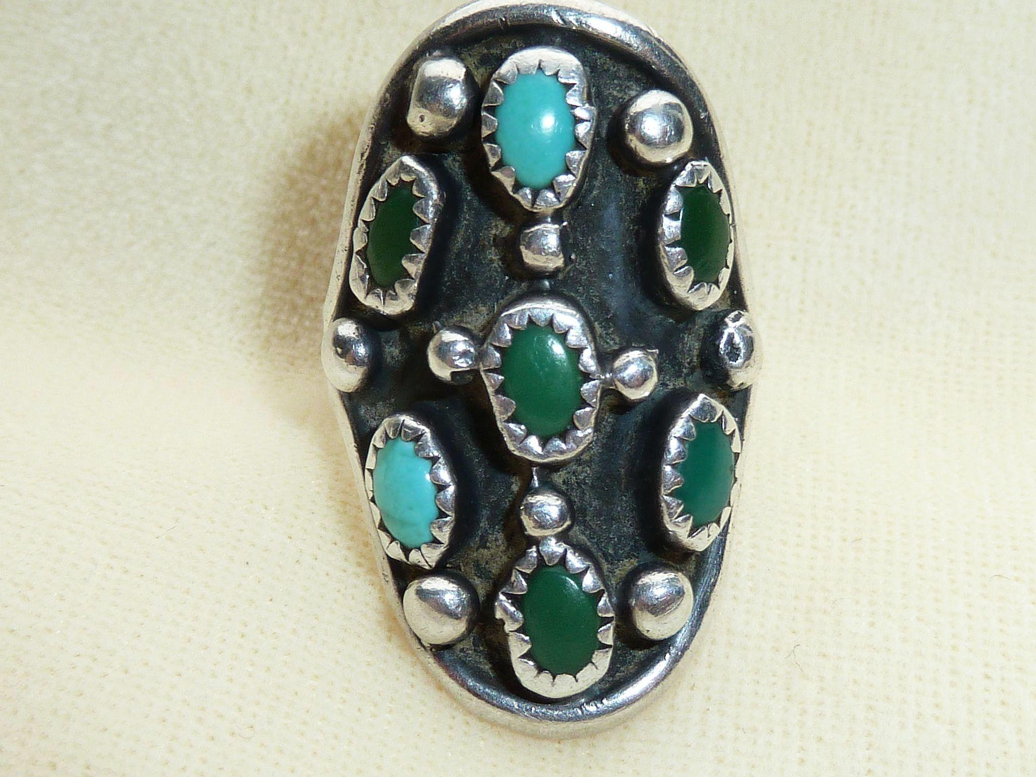Sterling Turquoise Navajo Ring Jerry Johnson Size 7 1/2
