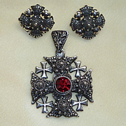 Jerusalem/Crusader's Cross with Earrings Silver Vintage
