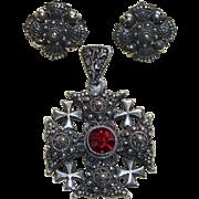 Jerusalem/Crusader's Cross with Earrings Silver Vintage