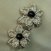 Miriam Haskell Flower Glass Bead Earrings