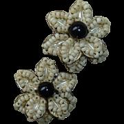 Miriam Haskell Flower Glass Bead Earrings