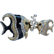Swarovski Two Angel Fish Pin Brooch
