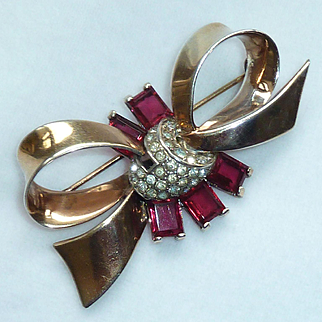 Marcel Boucher Bow Red Clear Sterling Vermeil Pin Brooch