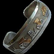 Navajo Sterling Gold Storyteller Cuff Bracelet