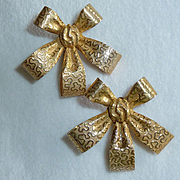 Miriam Haskell Ribbon Bow Earrings Vintage