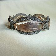 Silver 1000 14K Rose Gold Marcasite Bracelet Vintage