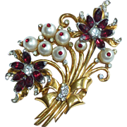 Coro Craft Gold Tone Pearl Bead and Red Rhinestone Brooch Pin