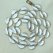 David Anderson White Enamel Double Leaf Necklace Willie Winnaess Designer