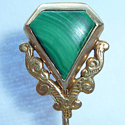 14K Gold Malachite Stick Pin Vintage