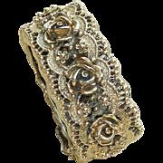 Tortolani Gold Tone Rose Snap Bracelet Large Vintage
