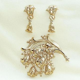 Gold Tone Tortolani Rose Pin Earrings Set Vintage