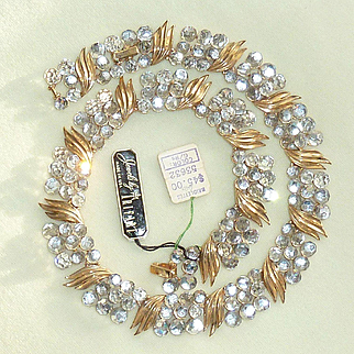 Crown Trifari Briolette Clear Crystal Necklace 1060s Original Tags