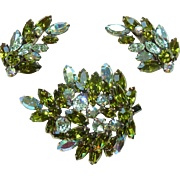 Regency Olivine Rhinestone Brooch Pin and Earring Set Vintage
