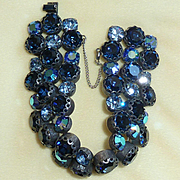 Blue Regency Rhinestone Bracelet 1950s Vintage