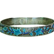 Silver and Enamel Chinese Flowers Leaves Flat Sided Bangle Bracelet