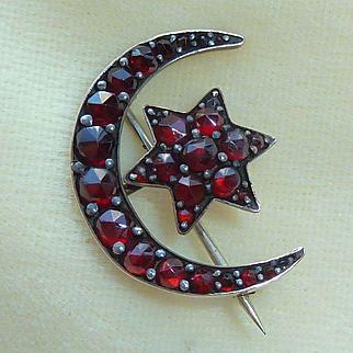 Victorian Bohemian Garnet Moon and Star Pin Brooch