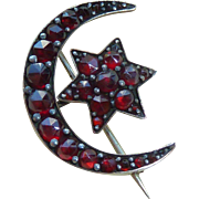 Victorian Bohemian Garnet Moon and Star Pin Brooch