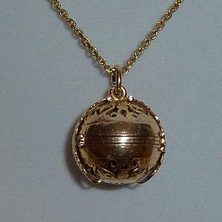 18K Rose Gold 6 Window Ball Locket w Yellow Gold Chain