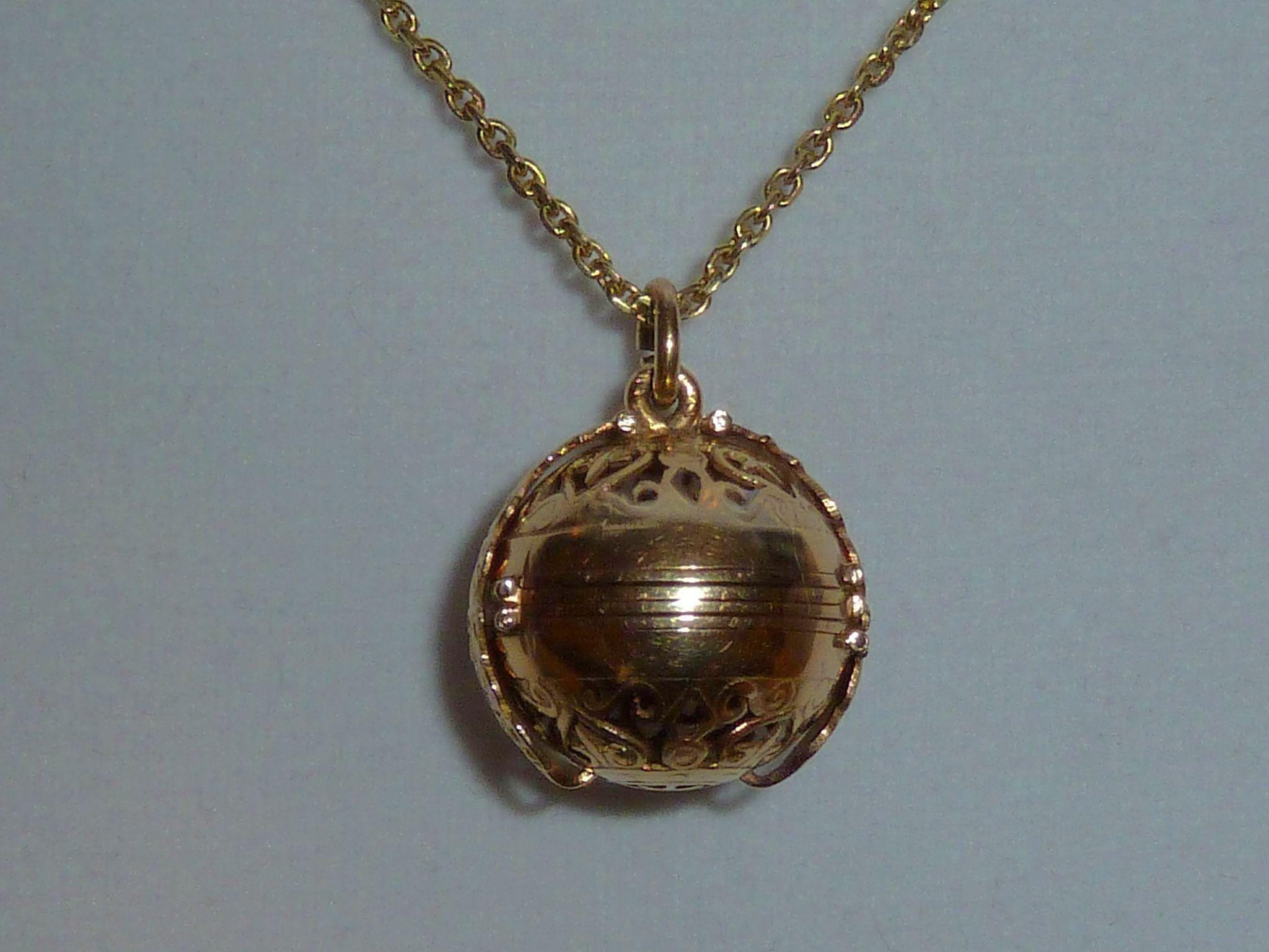 18K Rose Gold 6 Window Ball Locket w Yellow Gold Chain