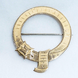 Victorian 14K Gold Belt with Buckle Brooch Pendant