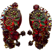 Ruby Red Etched Flower Juliana Earrings