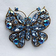 Regency Ice Blue Rhinestone Butterfly Vintage