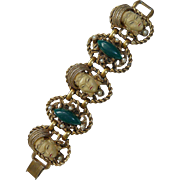 Princess With Jade Glass  Pearl Glass Bracelet Selro/Selini Vintage