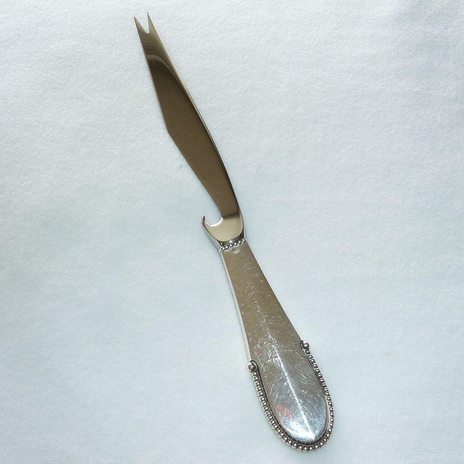 Georg Jensen Beaded Sterling Stainless Cheese Knife