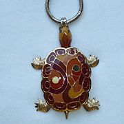 Eisenberg Enamel Turtle Necklace 1970s