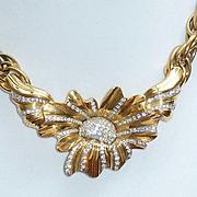 Nina Ricci Rhinestone Flower Necklace 1980s Runway