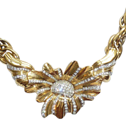 Nina Ricci Rhinestone Flower Necklace 1980s Runway