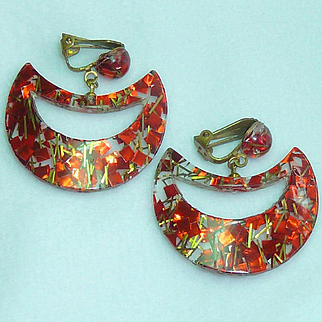 Confetti Clear Lucite Earrings Red and Gold