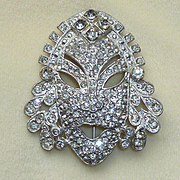 Rhinestone Face Mask Pin Brooch AJ