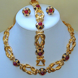 Fendi 1980s Gold Washed Red Cabochon Parure