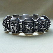 Silver Bracelet Repousse Flowers Charity Humility Loyalty Friendship Happiness Portugal