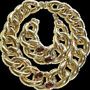 Vintage Givenchy Large Link Necklace Bracelet Amber Glass