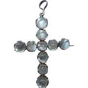 Victorian Sterling Cats Eye Moonstone Cross Pin Pendant