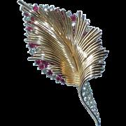 Boucher Stylized Red Clear Rhinestone Leaf Pin Brooch