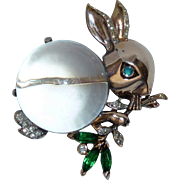 Crown Trifari Sterling Vermeil Rabbit Jelly Belly 1943