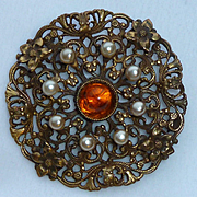Joseff of Hollywood Lacey Faux Pearl Amber Glass Cabochon Pin Brooch