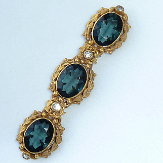 Joseff Hollywood Teal Faceted Glass Pin Brooch