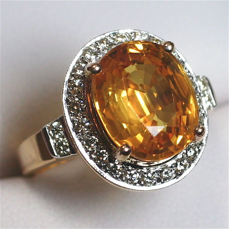 Gondwanaland Gems 7 Carat Golden Sapphire Diamond Ring